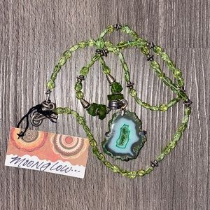 Green Druzy Crystal Necklace / Peridot and Silver